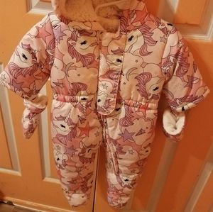 Baby girls unicorn snow suit and mittens set